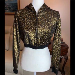 Gold and Black Short Zip Front Hoodie